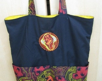 Australian Aboriginal Style Tote Bag, Shopping Bag, Reusable Bag, Purse