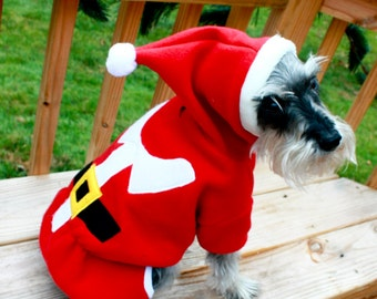Santa Pajamas Dog Santa Suit Costume Hooded Pajamas
