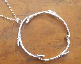 twig pendant circle pendant branch pendant round sterling pendant thorn