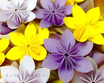 Vintage Garden - Lilac+Yellow+Mauve - 100 Origami Flowers with free shipping
