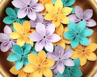 Teal + Peach + Lilac | 100 Origami Flowers + Free shipping