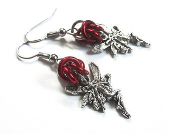 Faerie earrings, Red gothic fairy jewelry, Chainmaille earrings