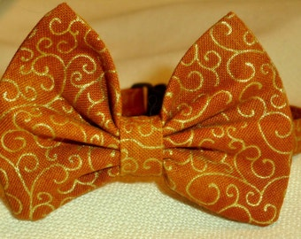 Cat Or Small Dog Bow Tie Collar In Pumpkin Spice Color With Metalic Swirls