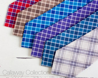 Limited Edition Callaway Collection-  men's chambray blend plaid neckties- 6 available shades