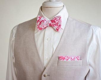 Men's Coral Damask Freestyle Self-Tie Bow Tie, Men's Bowties, Wedding Bow Ties, Groomsmen Bow Ties, Custom Bow Ties, Handmade Bow Ties