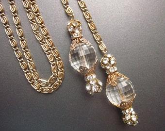 Vintage Rhinestone Necklace Bridal Jewelry Rope Lariat Necklace