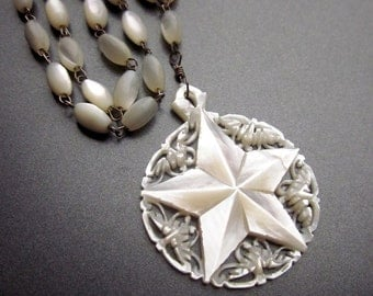 Vintage Mother of Pearl Carved Necklace Shell Jewelry MOP Star Jewelry