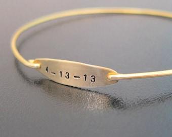 Personalized Birth Date Bracelet, Mom's Baby Birthdate Jewelry, Birthday Bracelet, Baby Keepsake Gift, Birthday Jewelry, Custom Date Jewelry