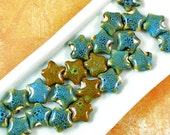 Turquoise and Brown Ceramic Star Beads 60% off, qty 23