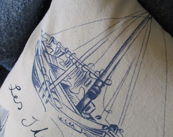 Nautical Handmade Pillow Boats Blue Watercolor and Ink Drawings