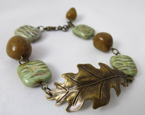 RESERVED for Lisa - Antiqued Brass Leaf Bracelet - Green Brown