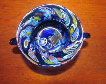 Colbalt Millefiori Art Glass Sugar Bowl