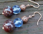 Blue and Copper Earrings - Blue Speckled Glass Beads, Pale Blue Glass Beads, Copper Beads, Stacked Dangle Earrings