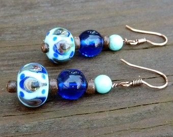 Blue Lampwork Glass Earrings - Blue Lampwork Beads, Cobalt Blue Glass Beads, Magnesite Beads, Stacked Dangle Earrings