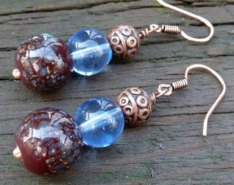 Blue and Copper Earrings - Blue Speckled Glass Beads, Pale Blue Glass Beads, Copper Beads, Stacked Dangle Earrings