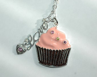 I Love Cupcakes Necklace , Cupcake Necklace , Pink Iced Cupcake Necklace