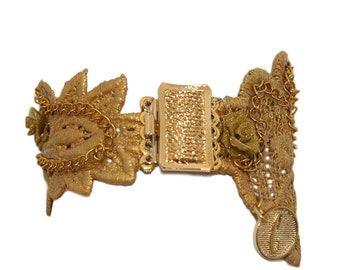 Gold lace bracelet with metal handmade rose and 24k gold plated brooch.