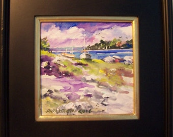A COOL SUMMER DAY, 8x8 worked in acrylics on board and framed beautifully........