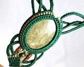 Beaded Gold Sheen Obsidian Micro Macramé Collar Necklace