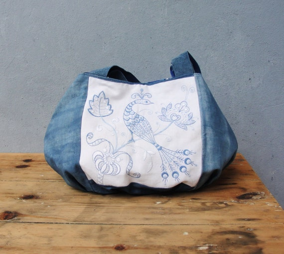 A Piece Of Paradise Hobo Bag - Vintage Embroidered Linen and Suede Leather