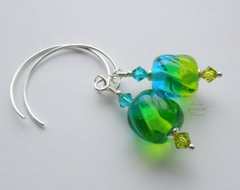 Spring is in the Air, sterling silver earrings, green blue lampwork earrings, sterling silver