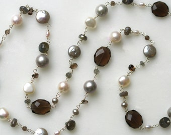 Long Gemstone Necklace, Long Silver Necklace, Long Beaded Necklace,Gemstone Jewelry, Pearl and Gemstone, Stone Necklace,Long Pearl Necklace