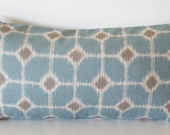 Pillow Cover - Ikat  Diamonds - Geometric - Sofie Cadet Oatmeal - Village Blue - Accent - Cushion Cover