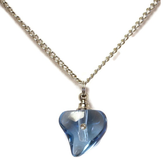 "Blue Crystal Heart with Rhinestone CREMATION URN on 24"" Silver Necklace  -   with Velvet Pouch and Mini Funnel"