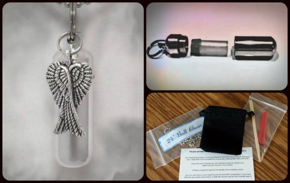 "Complete Set - Large Angel Wings Cremation Urn on 24"" Necklace with  - Custom Hand Assembled.... with Velvet Pouch and Fill Kit"