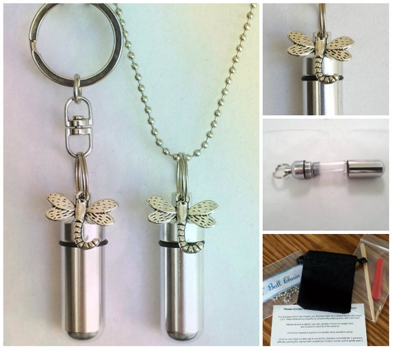 DRAGONFLY  2pc. Special Set - CREMATION URN Necklace & Keychain Urn with Velvet Pouches