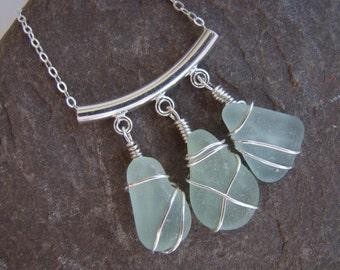 Sea Glass Necklace - Seafoam Sea Glass Pendant - Sterling Silver Wire Wrapped