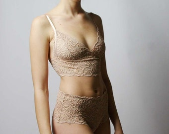 lingerie lace bralette with tab closure - JOY range - made to order