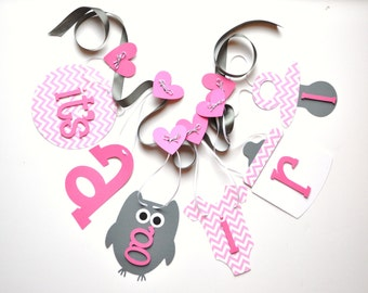 Owl baby shower decorations it's a girl banner pink chevron and grey by ParkersPrints on Etsy