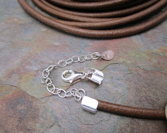 Sterling Silver End Caps with Balloon Clasp and Extension Chain