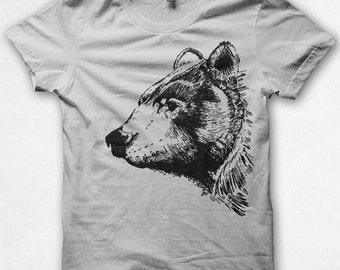 Womens Tshirt, Graphic Tee, Black Bear, Bear Shirt, Forest and Fin, Screenprint T - Silver