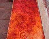MarveLes AUTUMN THANKSGIVING QUILT Table Runner Feathers Modern Table Runner Home Decor Dining Decor Orange Rusty Rosey Brown