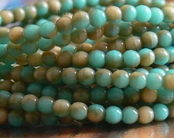 Dual Tone Turquoise Beige Czech Glass Beads Round 3mm 50