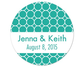 Personalized Wedding Stickers - Modern Custom Labels - Circles - Favor Stickers - Bridal Shower Labels - Choose Your Colors