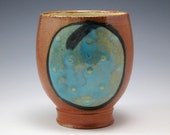 Blue and Brown Salt Fired Pottery Cup
