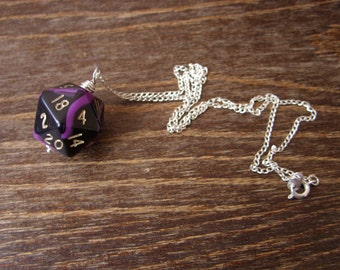 purple black D20 dice necklace dungeons and dragons pendant dice pendant D20 pendant dice jewelry dice necklace purple swirls black dice