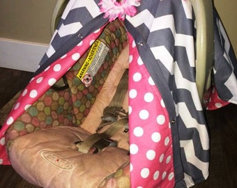 Carseat Canopy Carseat Cover Grey and Pink