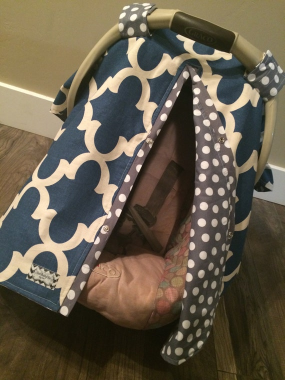 Car seat canopy Navy and Grey / car seat cover / nursing cover / carseat canopy / carseat cover