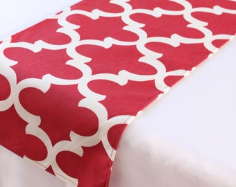 Red Moroccan Tile Table Runner, Choose length, Valentine's Day decor, Quatrefoil decor, Wedding table decor, Baby shower