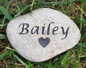 PERSONALIZED Pet Memorial Stone Grave Marker Burial Stone Memorial for  Dog Cat Hamster Guinea Pig Gerbil 4-5 inches