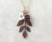 Pinecone Necklace Leaf Necklace Woodland Crystal Jewelry Holiday Gift Nature Fall Wedding Rustic Bride - Pine Cone Charm