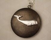 Beluga Whale Necklace, Silver Whale Locket, Vintage Locket, Long Whale Pendant, Silver Whale Jewelry, Large Locket