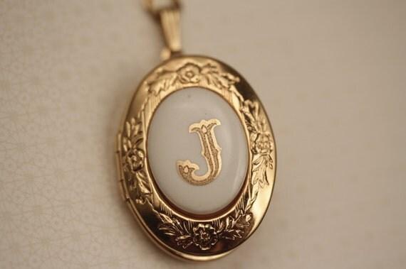 vintage monogram letter j locket necklace gold personalized