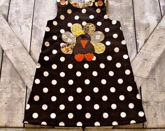 Girl Custom A line Turkey Dress- Thanksgiving Dress- Baby Girl Dress- Toddler Dress- 0-3 3-6 6-12 12-18 18-24 Months 2T 3T 4T 5 6 Years