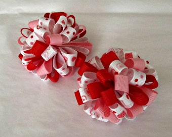 Girl Valentines Day Puffy Loopy Hair Bows- Set of 2- Pigtail Bows- Baby Hair Bows- Toddler Hair Bows