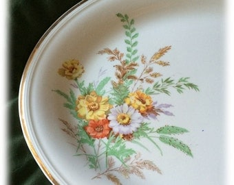 "Edwin Knowles Autumn Flowers Thanksgiving Serving Platter 13 1/2"" Semi-Vitreous 1940 Gold Trim"